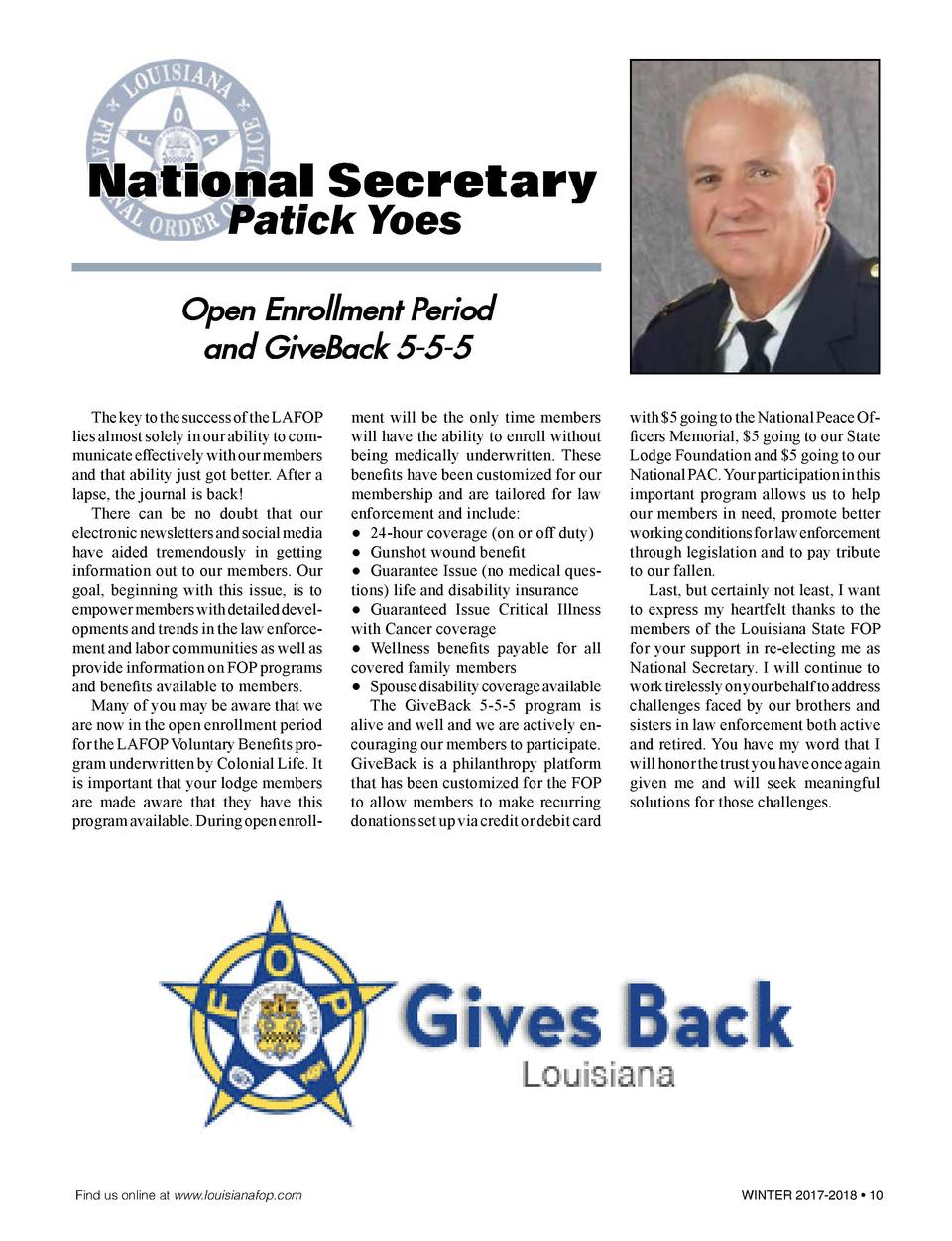 National Secretary Patick Yoes Open Enrollment Period and GiveBack 5-5-5   The key to the success of the LAFOP lies almost...